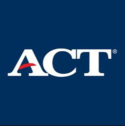 copy righted ACT logo, white letters on a blue background