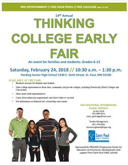 A flyer with college fair information also included in the text of the webpage post
