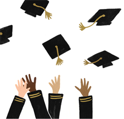 Cartoon image of hands in the air throwing up graduation caps
