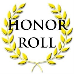 the words honor roll with gold leaves around the outside
