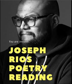 "a black and white photograph of Joseph Rios with yellow letters that say ""Joseph Rios Poetry Reading"""