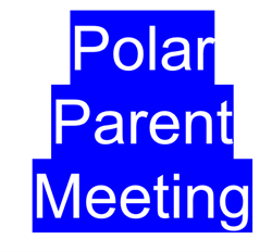 Polar parent meeting written in white letters with blue background