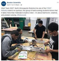Boston Scientifc's Facebook page with a picture of North High Robotics club working on a robot.