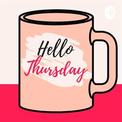"A peach mug that says ""hello Thursday"""